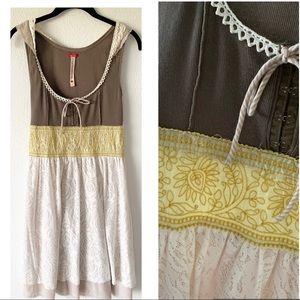 Free People Bohemian Peasant Brown & Yellow Dress